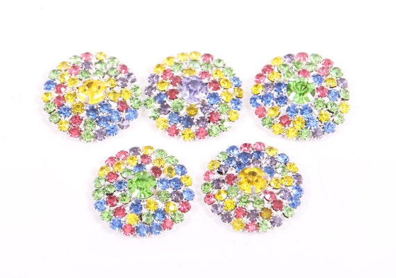 Rhinestone buttones, metal Super BLING Rainbow Buttons - 26mm - set of  FIVE  - rainbow stones