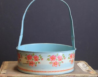 Charming Vintage Tin Lithographed Basket // Blue with Flowers and Lace