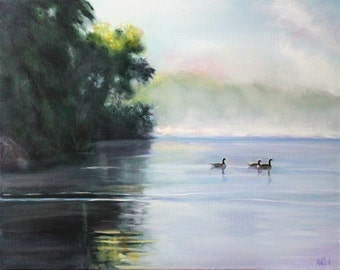 """Original Oil Painting: Local Georgia Scene """"Dawn at the Lake"""""""