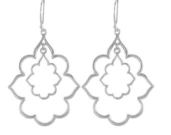 925 Sterling Silver 24.75x27.75 mm Decorative Earrings