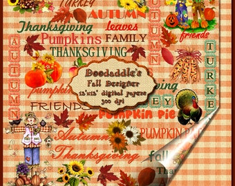 Doodaddle's 2 designer digital printable AUTUMN THANKSGIVING FALL papers 300 dpi  background scrapbooking