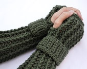 Army green arm warmers, fingerless gloves, texting gloves, crochet gloves, boho gloves, hand warmers, mittens, boho fashion, button gloves