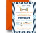 Bow Tie Sip and See Invitations Boys Baby Shower Invites Navy Chevron Little Man Meet Greet Party Announcements Digital or Print (MEETBOW)