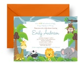 Jungle Baby Shower Invitation Boys Blue Zoo Invites Monkey Party Printable Personalized or Printed Classic Cute Sprinkle Party Lion Giraffe