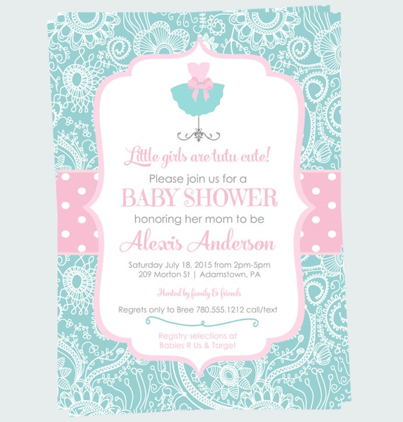 tutu baby shower invitation cute pink polka dots and aqua damask