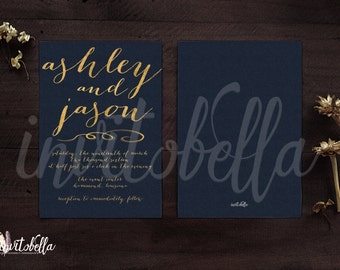 Navy & Gold Wedding Invitation Set