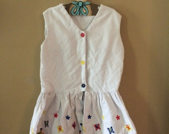 Vintage mushroom butterfly embroidered top and shorts set girls 9/10