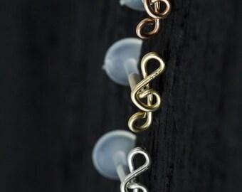 Treble clef push in 16gauge bio flexible Tragus / helix / cartilage piercing