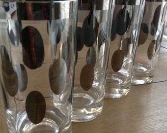 Silver Retro Polka Dot Glasses Dorthy Thorpe-Like Highball Glassware