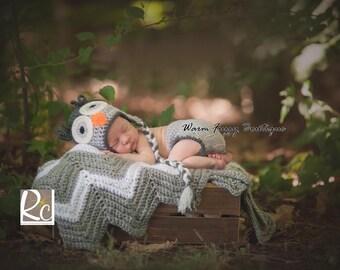 Baby Owl Earflaps Hat & Diaper Cover Cafe Light Grey Charcoal - Crochet Newborn NB Beanie Boy Girl Costume Halloween  Photo Prop Christ