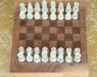 Handcrafted Chess Board, Chess Board, Black Walnut Chess Board, Gift, Family Game Night, Glass