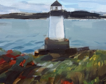 "Archival 8"" x 12"" Art Print / Free Shipping / Winter Island Lighthouse, Salem, MA (no.143) Oil Painting Realism Lighthouse Sea New England"