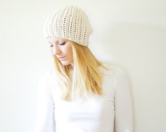 SUMMER SALE chunky knit hat womens fitted hat beanie - fisherman - the LATTA