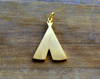 Small Teepee Silhouette Charm Brushed 24k Gold Plated Stainless Steel Layered Charm Minimal Jewelry Pendant (AS046)