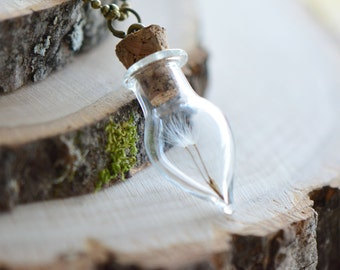 Glass Tear Drop Bottle Necklace w/ Preserved Dandelion Seed, Terrarium Apothecary, Vintage Style Pendant Charm & Chain