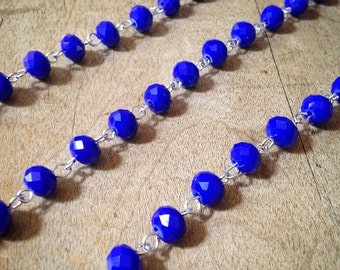 100cm Oval Faceted Cobalt Blue Bead Necklace Chain 6mm Glass Bead Silver Chain Jewelry Making Supplies (EC134)
