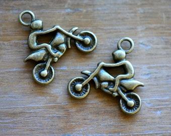 Motorcycle Charm -  Vintage Style Pendant - Antique Bronze - Motocross Evil Knievel Charms Jewelry Supplies (L036)