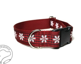 "Snowflakes on Country Plaid - 1.5"" (38mm) - Choice of collar style and size - Wide Martingale Dog Collars or Quick Release Buckle"