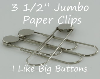 100 Silver Jumbo / Giant 3 1/2 Inch Bookmarks/Paper Clips/Paperclips w/ Glue Pads Large
