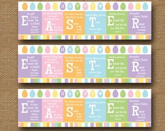 "Printable Easter Bookmark | ""Happy EASTER"" Scripture, Bible Verse, Christian Bookmark 