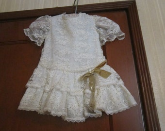 Baby's Lace Dress with Gold Spots and Ribbon