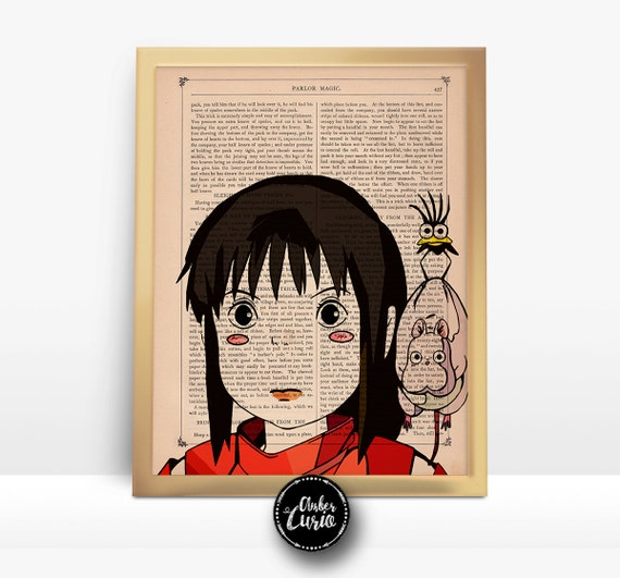 Chihiro Sen Spirited Away Studio Ghibli Print on an Unframed Upcycled Bookpage