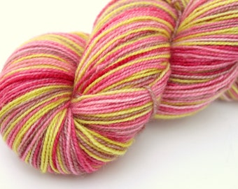 "Self Striping Sock Yarn, Superwash BFL/Nylon Fingering Weight, in ""Cherry Orchard"""