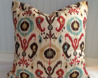 Teal, Red, Brown and Tan Ikat Pillow Covers in Richloom Holiday Blend Persian
