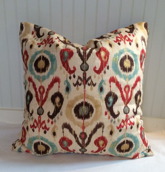 teal red brown and tan ikat pillow covers in richloom. Black Bedroom Furniture Sets. Home Design Ideas