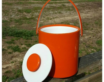 Vintage Mod Orange Ice Bucket Vinyl 1960 Barware Groovy Home Decor Glamping Camper Decor Retro