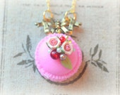 French macaron jewelry, handmade rose purple macaroon necklace, fake cake pastry charm, lolita accessories, golden bow, gift under 20