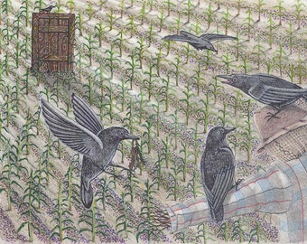 Crows in the Cornfield, 9x12 ink and colored pencil, pen and ink, drawing and illustration, art & collectibles earthspalette
