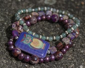 3696 Trio of Stretch Bracelets in Serpentine Jasper, Pearl and Aventurine with Owl Focal Bead
