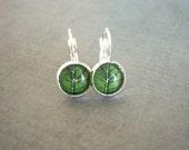 Glass Leaf Photo Earrings