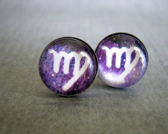Virgo Zodiac Stud Earrings : Star Sign Jewelry