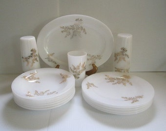 Vintage Federal Glass Golden Glory Soup Bowls Plates Tumblers Platter