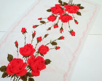 Vintage Linen Kitchen Towel, Deep Orangish Red Roses, Kitchen Towel, Linen Dish Towel, Vintage Linens by TheSweetBasilShoppe
