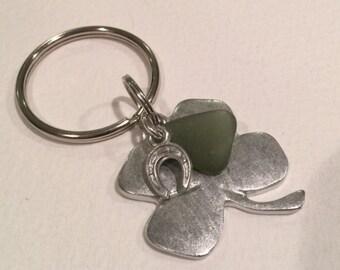 Lucky of the Irish four leaf clover with green sea glass keychain, talisman,Irish symbol,horseshoe key ring,St Patricks Day, good luck charm