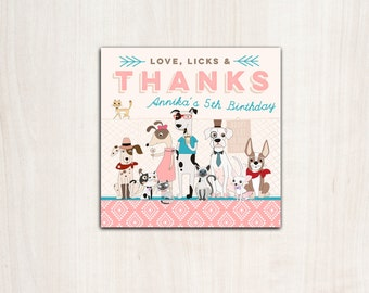 Hipster Dogs & Cats Favor Tag - Puppy and Pet Adoption party supplies