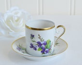 Small demitasse coffee cup with saucer, mochaware, vintage Swedish china, pansy decor, please read item details