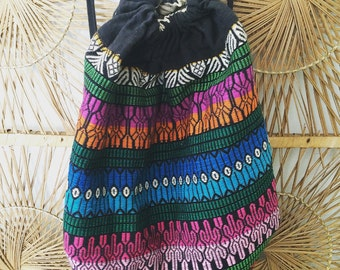 Vintage Guatemalan Huipil Embroidered All Cotton Backpack Weekend Festival Hippie Boho Ethnic Mexican Travel Bag