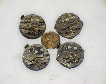 4 vintage mens wrist watch movements 4 tick parts repair steampunk E-381