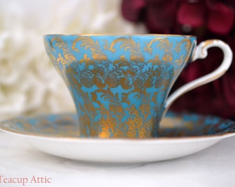 Aynsley Turquoise Corset Teacup and Saucer With Gold Overlay, English Bone China Tea cup Set, Tea Party, ca. 1934-1939