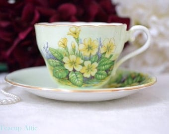 Aynsley Teacup and Saucer Set With Yellow Primrose Flowers, English Bone China Tea Cup And Saucer, After Tea Party, ca. 1934-1939
