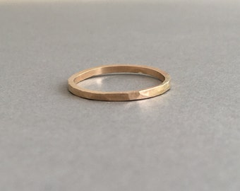 THICK Gold Fill Hammered Stackable Ring also in Rose Gold and Sterling Silver