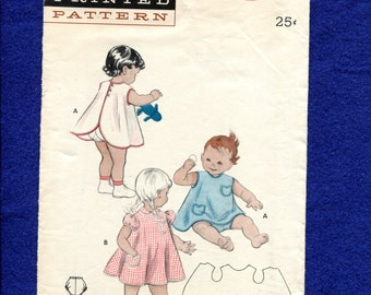 Vintage  1950's Butterick 6932 Sweet Toddler Dress & Bloomers Sewing Pattern Size 2