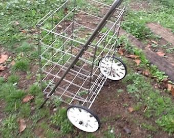 Metal Wire Basket Wheeled Shopping Cart