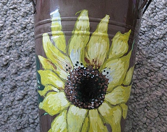 Small 6 inch Milk Can with Sunflower artwork and 3 X 6 inch wooden bowl with sunflower artwork