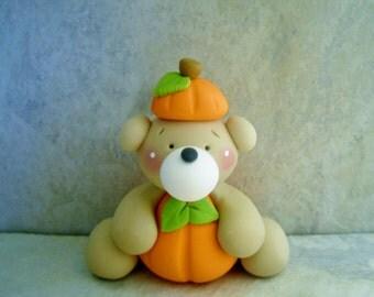 Bear - Pumpkin - Polymer Clay - Fall - Autumn - Halloween - Figurine