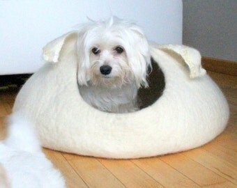 SALE Pets bed / dog bed - dog cave - small dog house - eco-friendly handmade felted wool dog bed -  natural white with curly ears